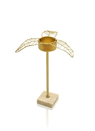 The Mia Gold Yaprak Tealight Mumluk Orta 16x14x17 Cm Altın
